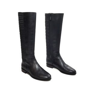 Cole Haan Black Leather Rockland Zip Riding Boots